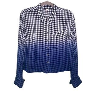 Free People blue ombré checked cropped blouse